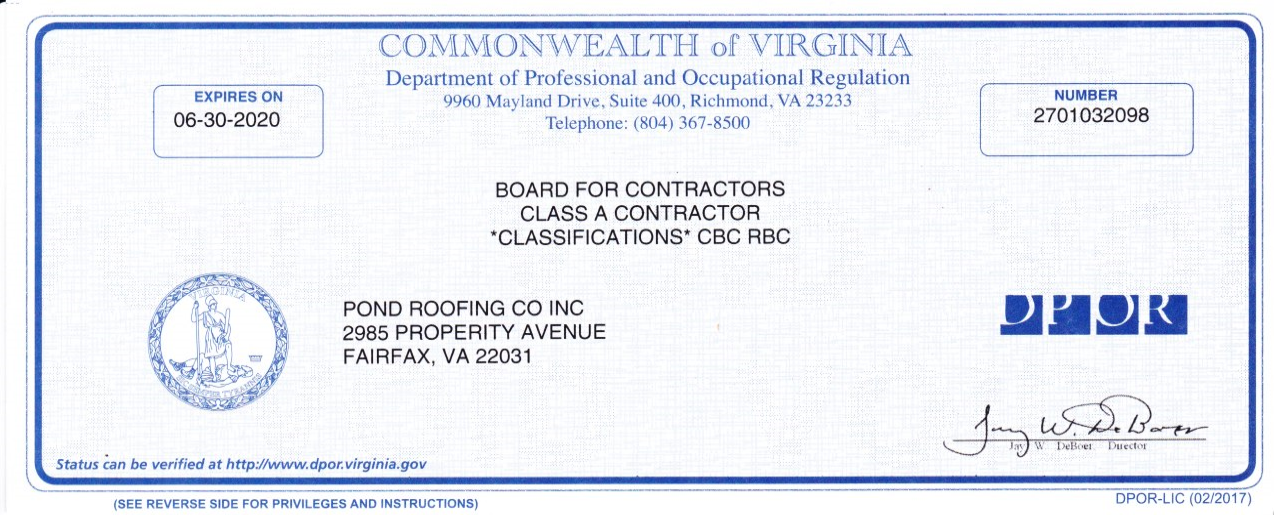Class A Contractor License Exp 6 20 Residential Roofing